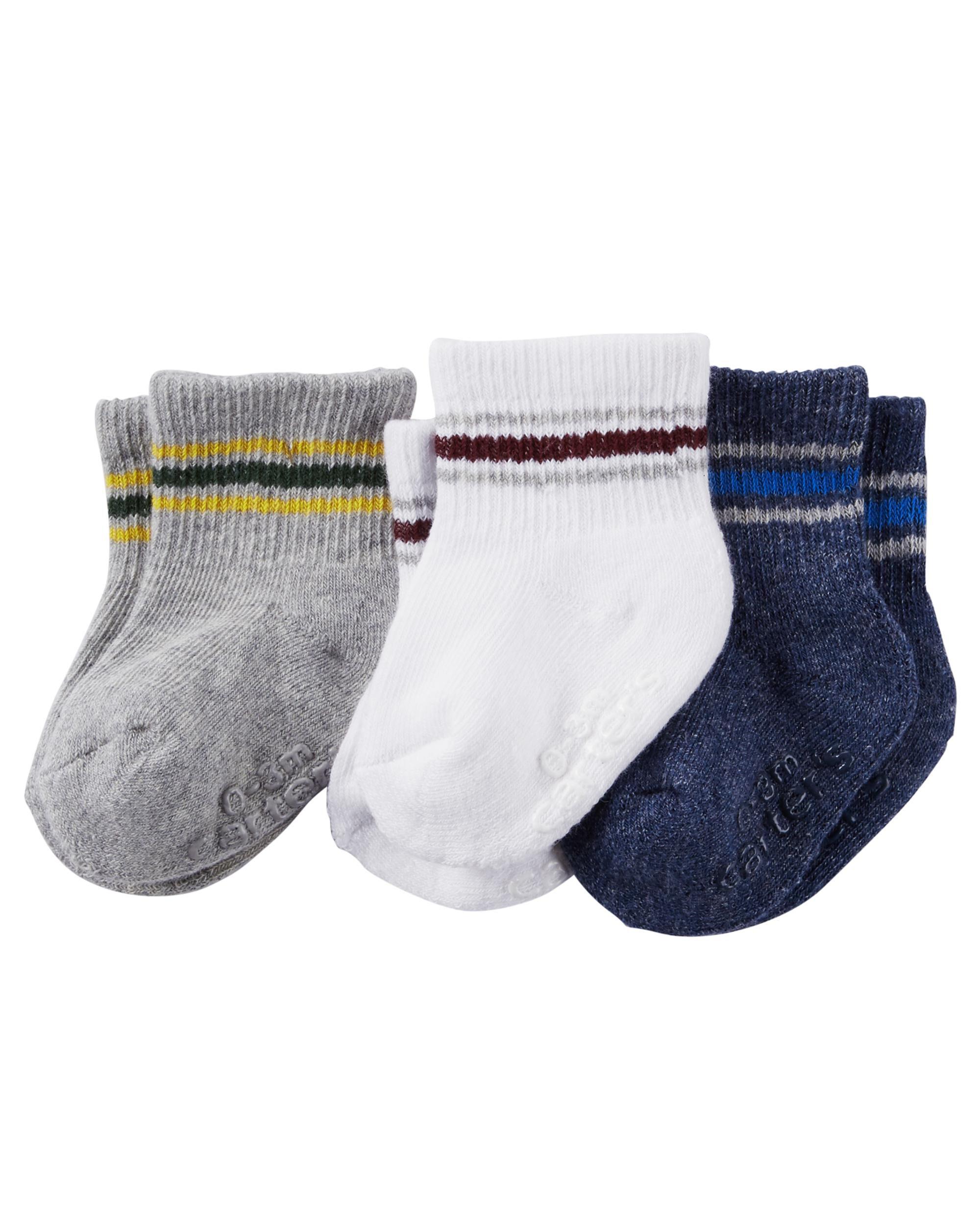 Carters Baby Boys 3-Pack Hi Socks