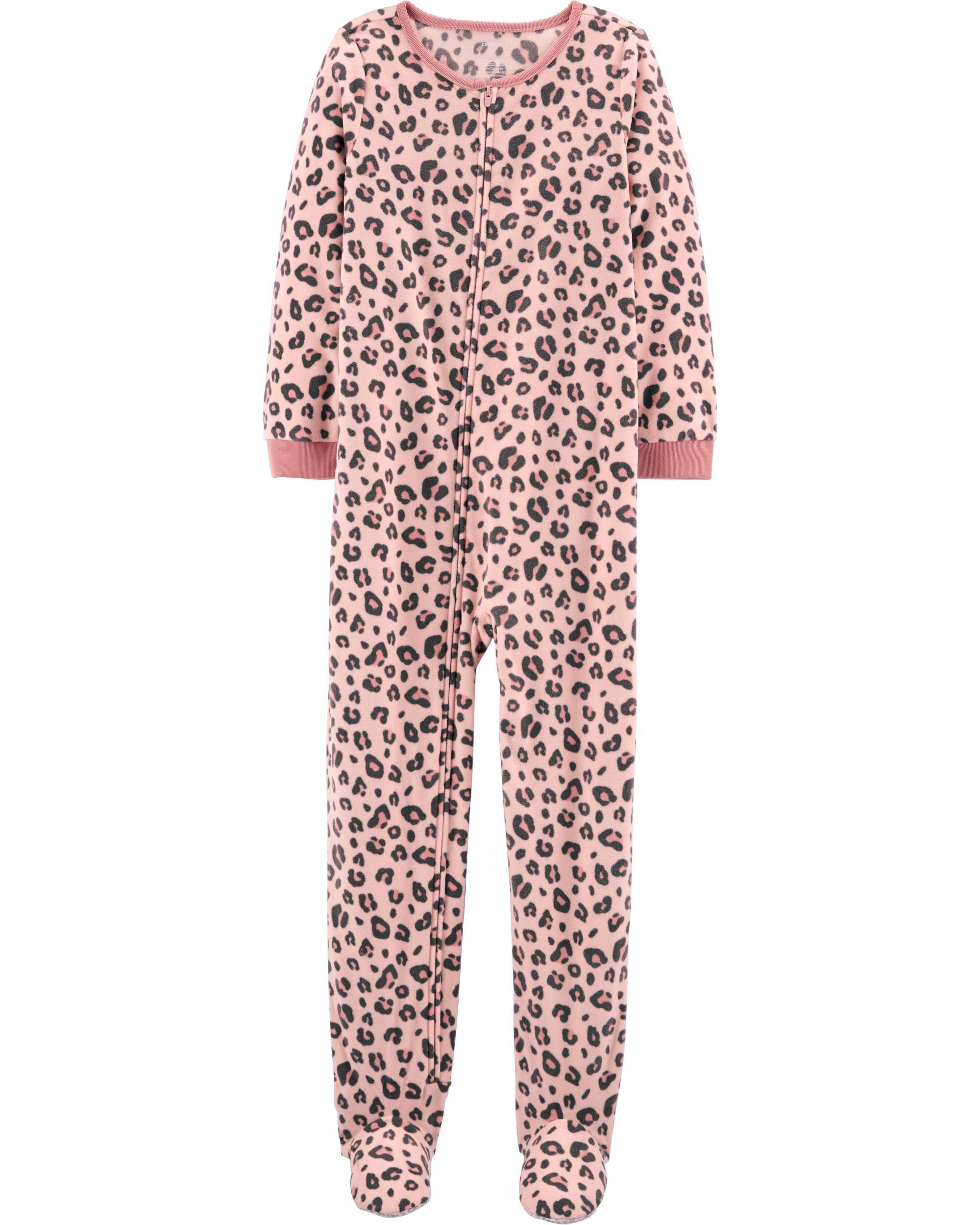 1-Piece Leopard Print Fleece Footie PJs