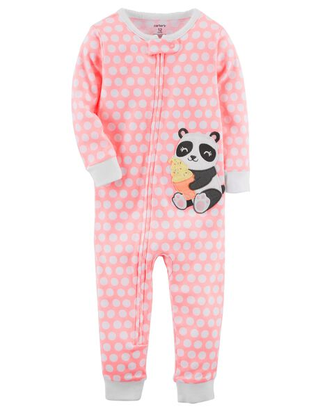 4526aa448 1-Piece Neon Panda Snug Fit Cotton Footless PJs
