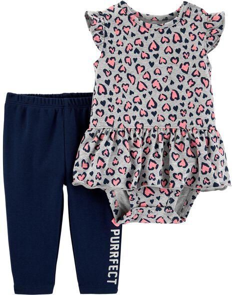 2-Piece Heart Peplum Bodysuit Pant Set