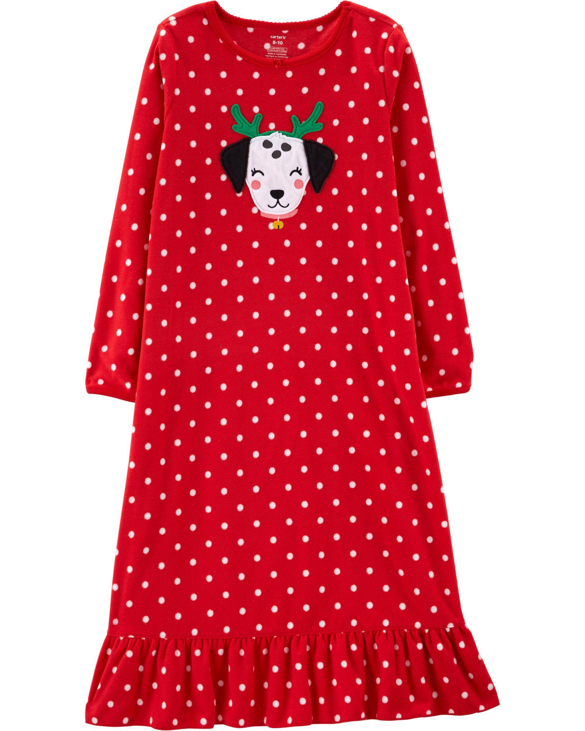 8fed7a9593da Christmas Dog Fleece Nightgown