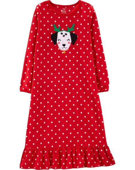 Christmas Dog Fleece Nightgown