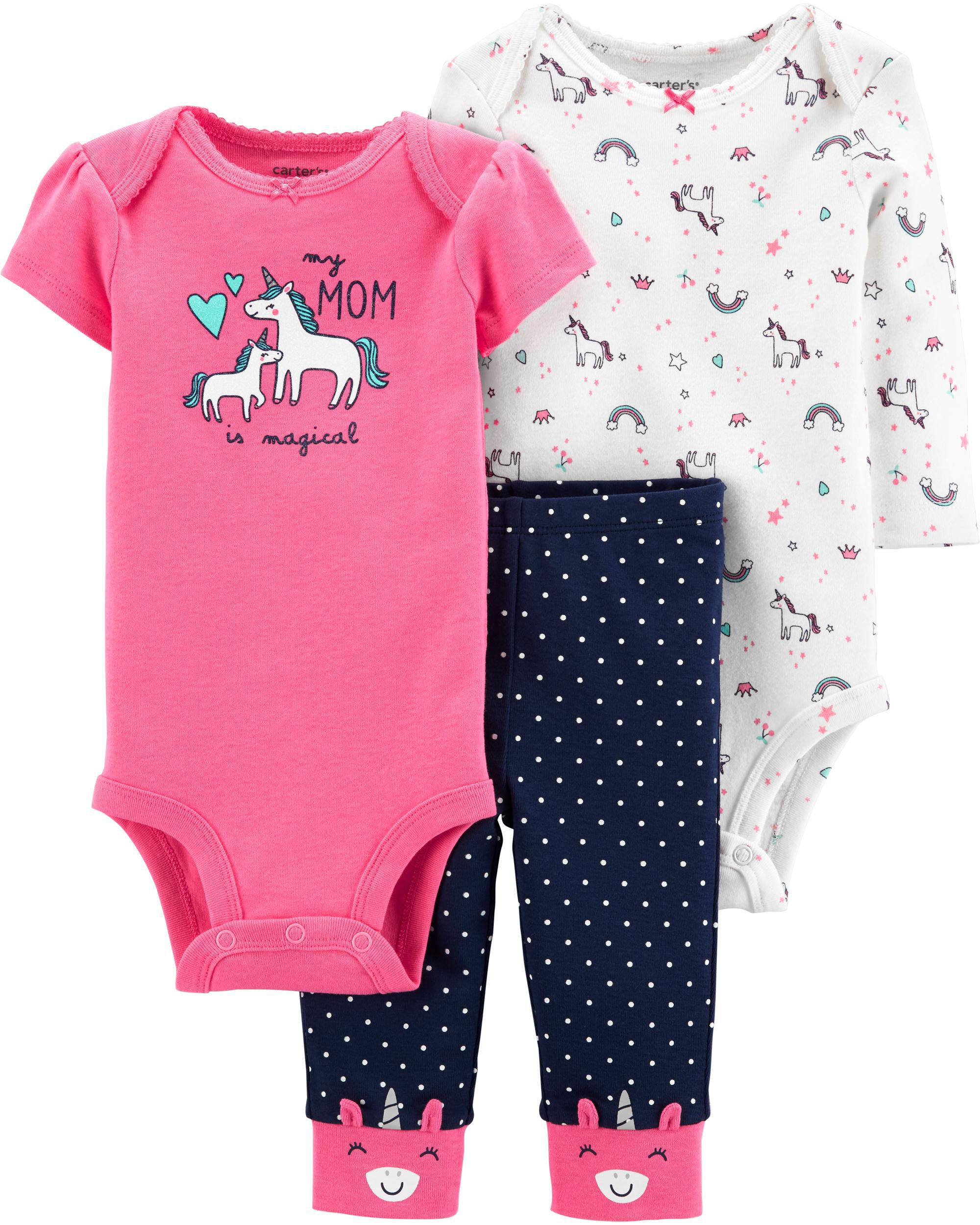 Carters Baby Girls Graphic Footie Floral Heart 18 Months