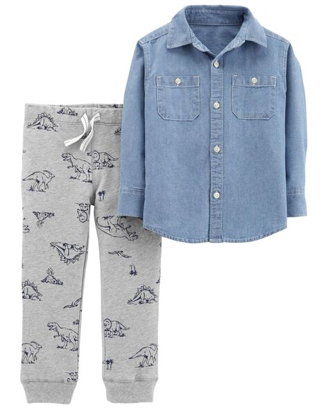 c00f53f5d 2-Piece Chambray Top   Dinosaur Jogger Set