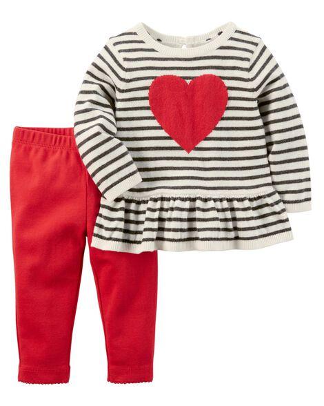 c2429c4f5e4d 2-Piece Heart Top   Pant Set