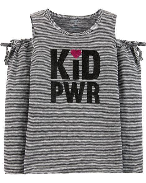 Kid Power Cold Shoulder Slub Top