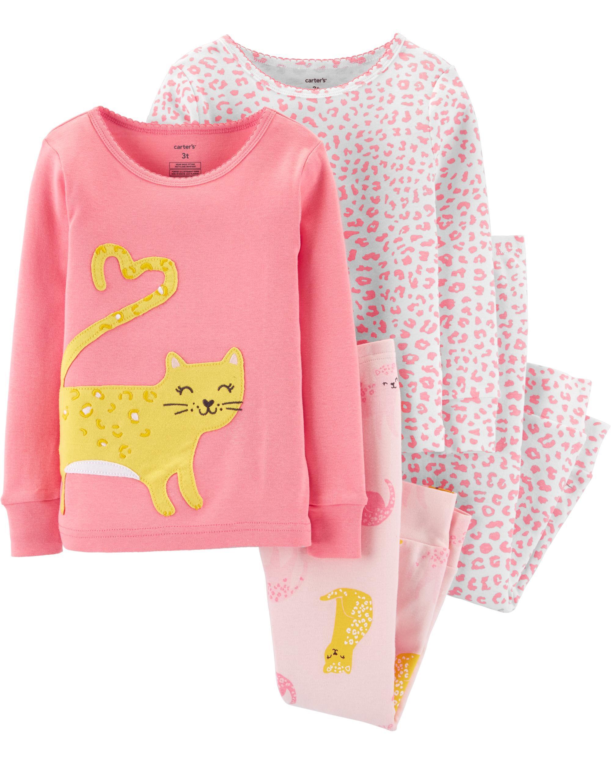 4-Piece Cat Snug Fit Cotton PJs