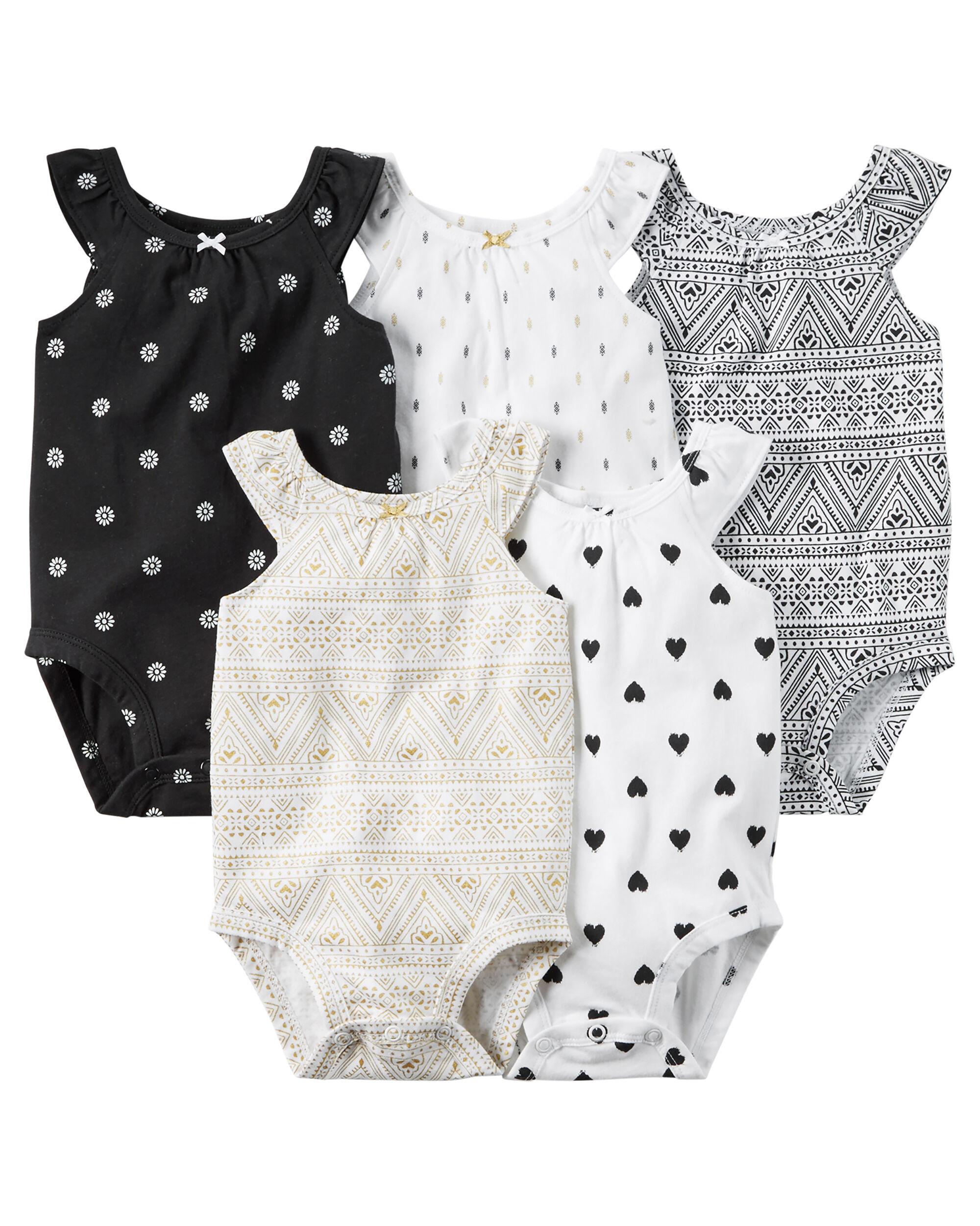 5 Pack Sleeveless Bodysuits