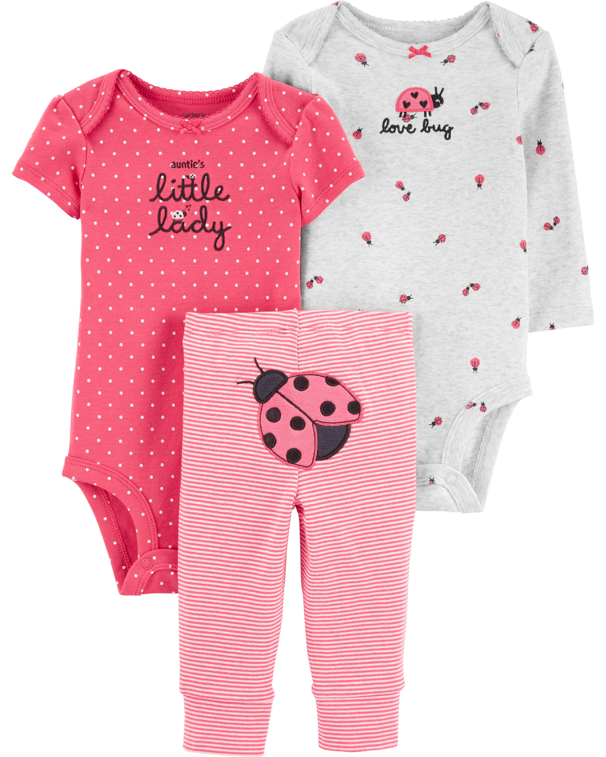 Quiltex 3-Piece Baby Girl Set Love You to The Moon Overall//Bodysuit//Bib Pink 3-6M