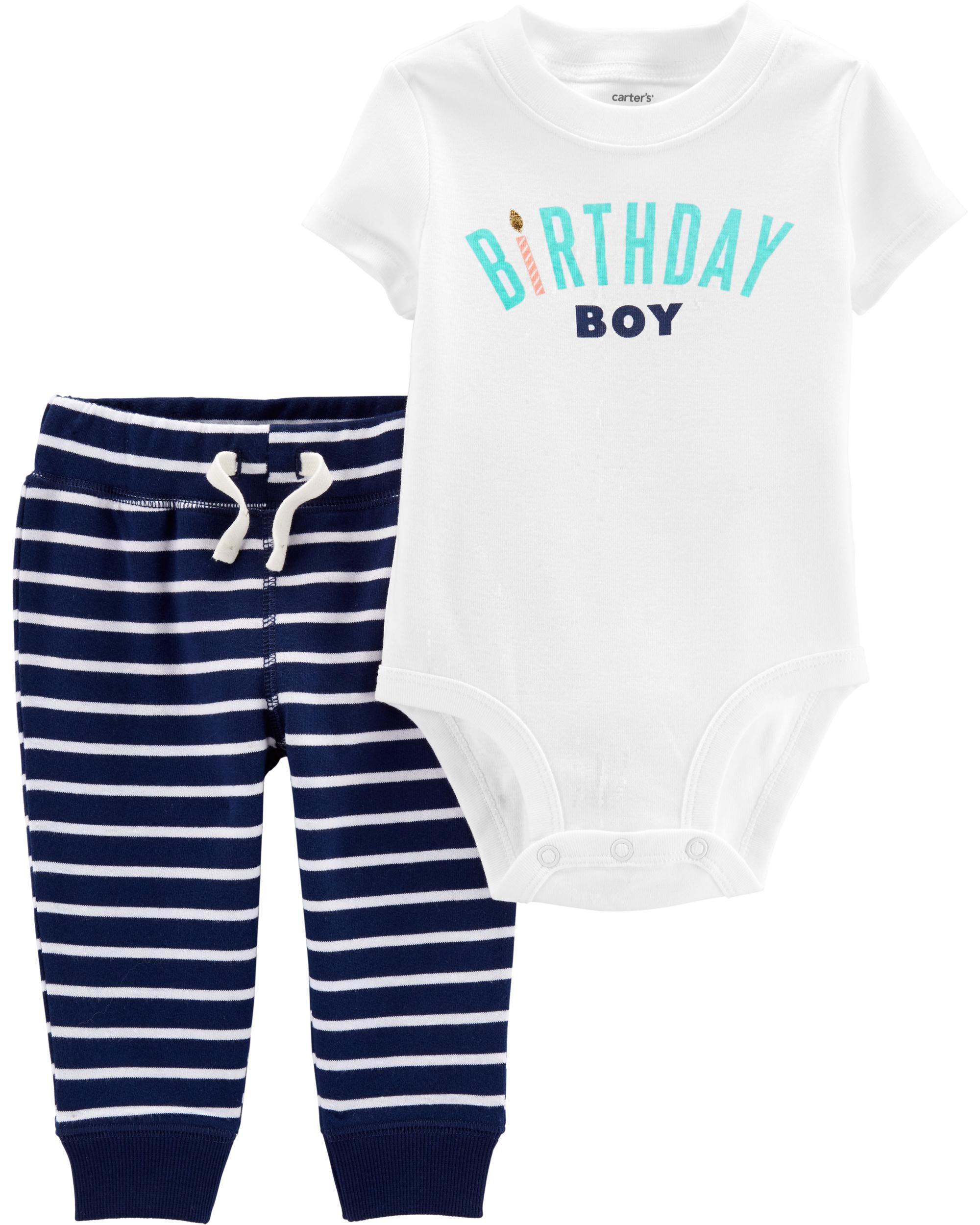 *CLEARANCE* 2-Piece Birthday Boy Bodysuit Pant Set