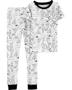 488e54f4cb 2-Piece Animal Snug Fit Cotton PJs