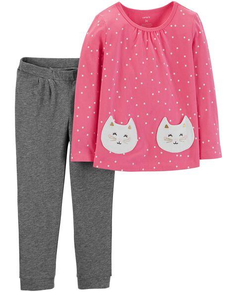 2-Piece Polka Dot Top & Jersey Pant Set