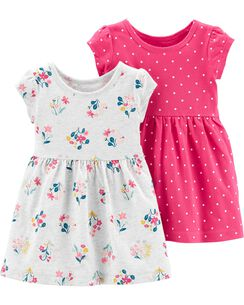 8f7be109b004 2-Pack Floral & Polka Dot Jersey Dress Set