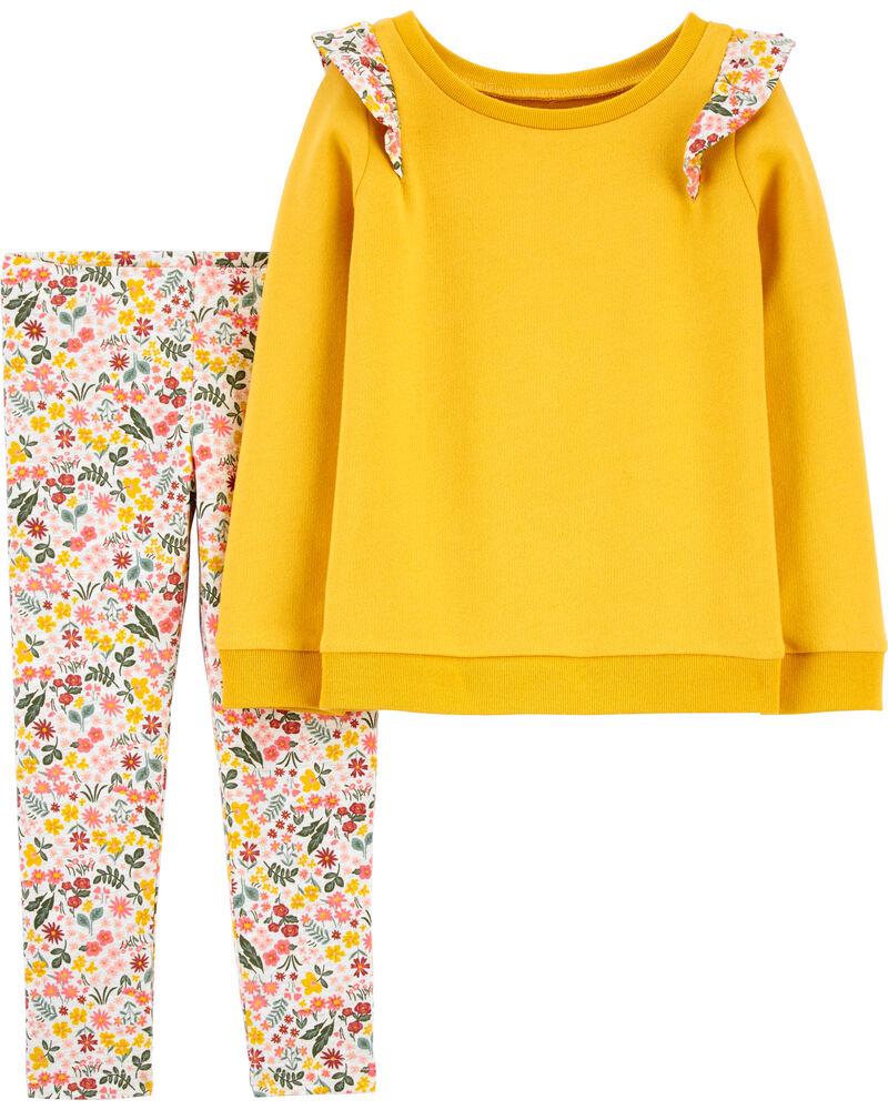 Carters Toddler Girls Yellow Flower Leggings 4T Yellow multi