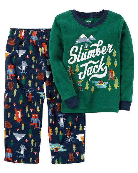 2-Piece Slumber Jack Cotton & Fleece PJs