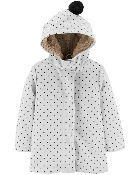 Polka Dot Sherpa-Lined Rain Jacket