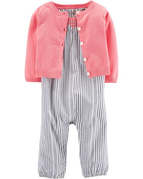 2 Piece Striped Jumpsuit Amp Cardigan Set Carters Com