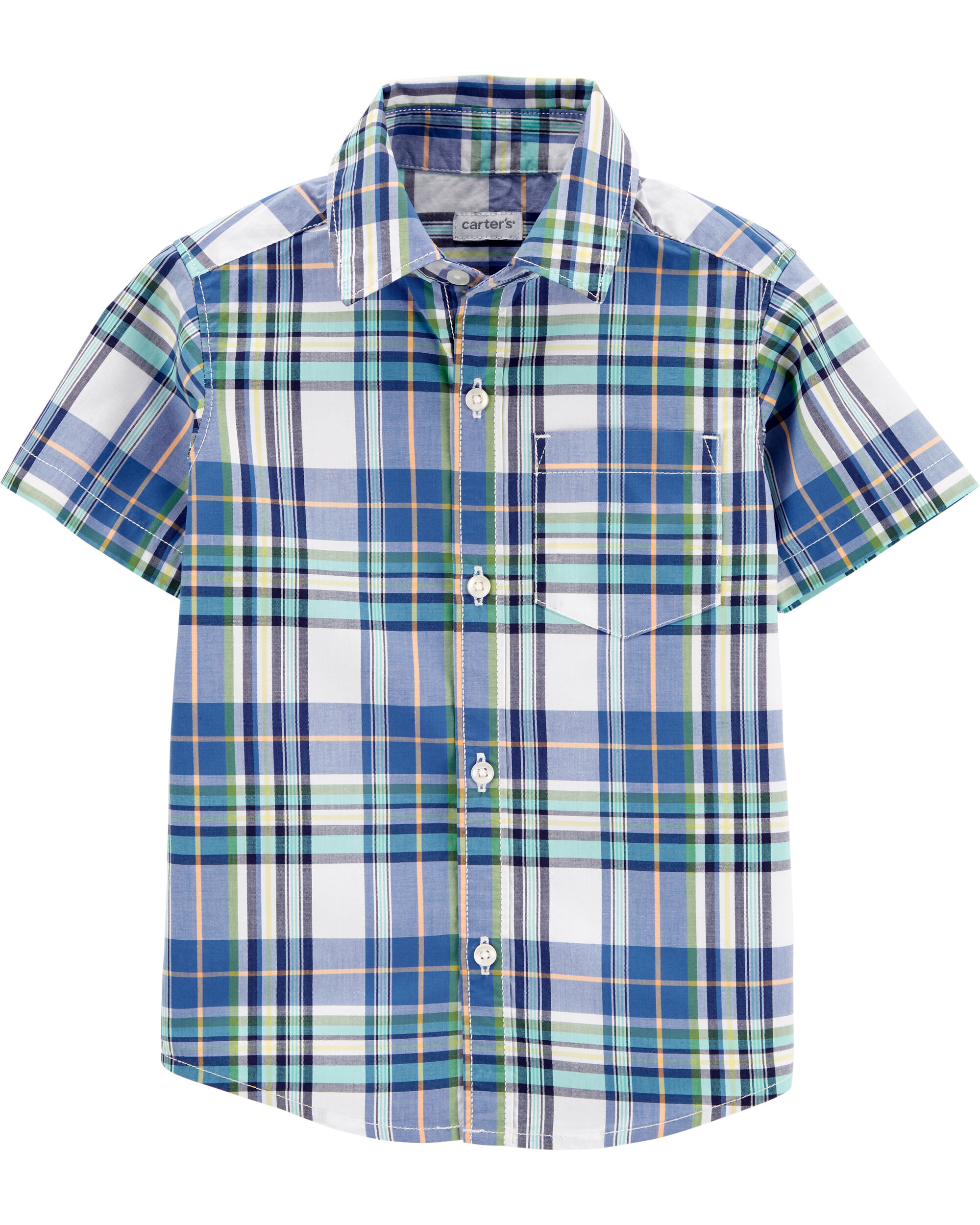 3m Navy Carters Boys Star Print Chambray Button-Front Shirt