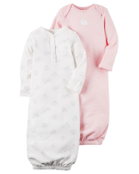 7bcd57a0448d 2-Pack Babysoft Heathered Sleeper Gowns | Carters.com