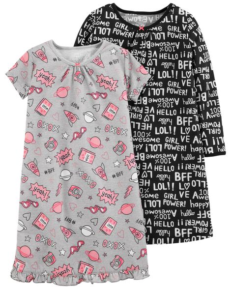 2-Pack Graphic Nightgowns