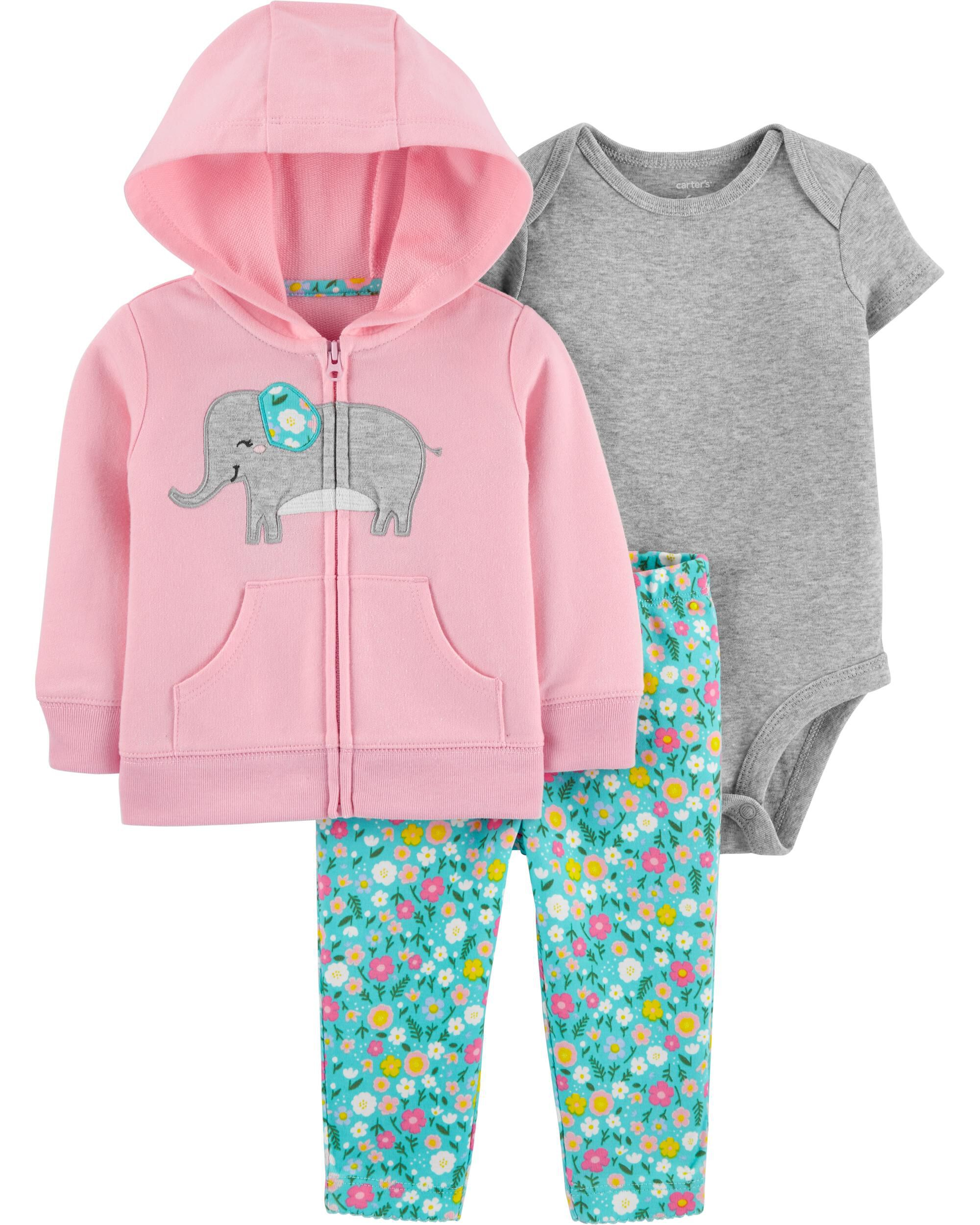 New Carter/'s Pink Hoodie Bodysuit Top /& Shorts Set Girls NWT 6m 9m 12m 18m Cute