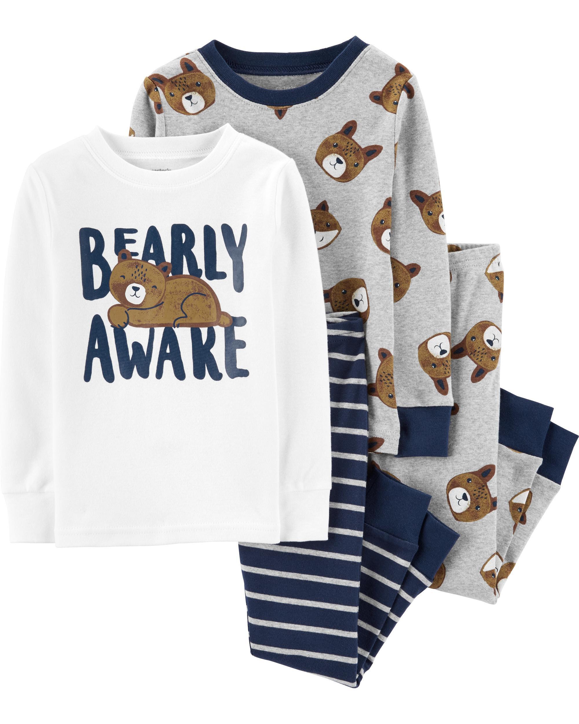 4-Piece Bear Snug Fit Cotton PJs
