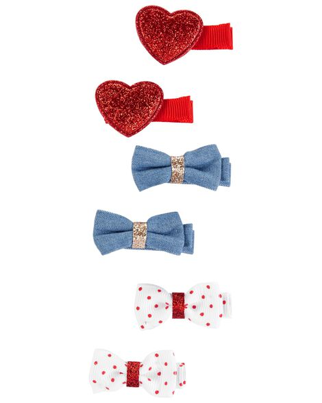 6-Pack Bow Hair Clips