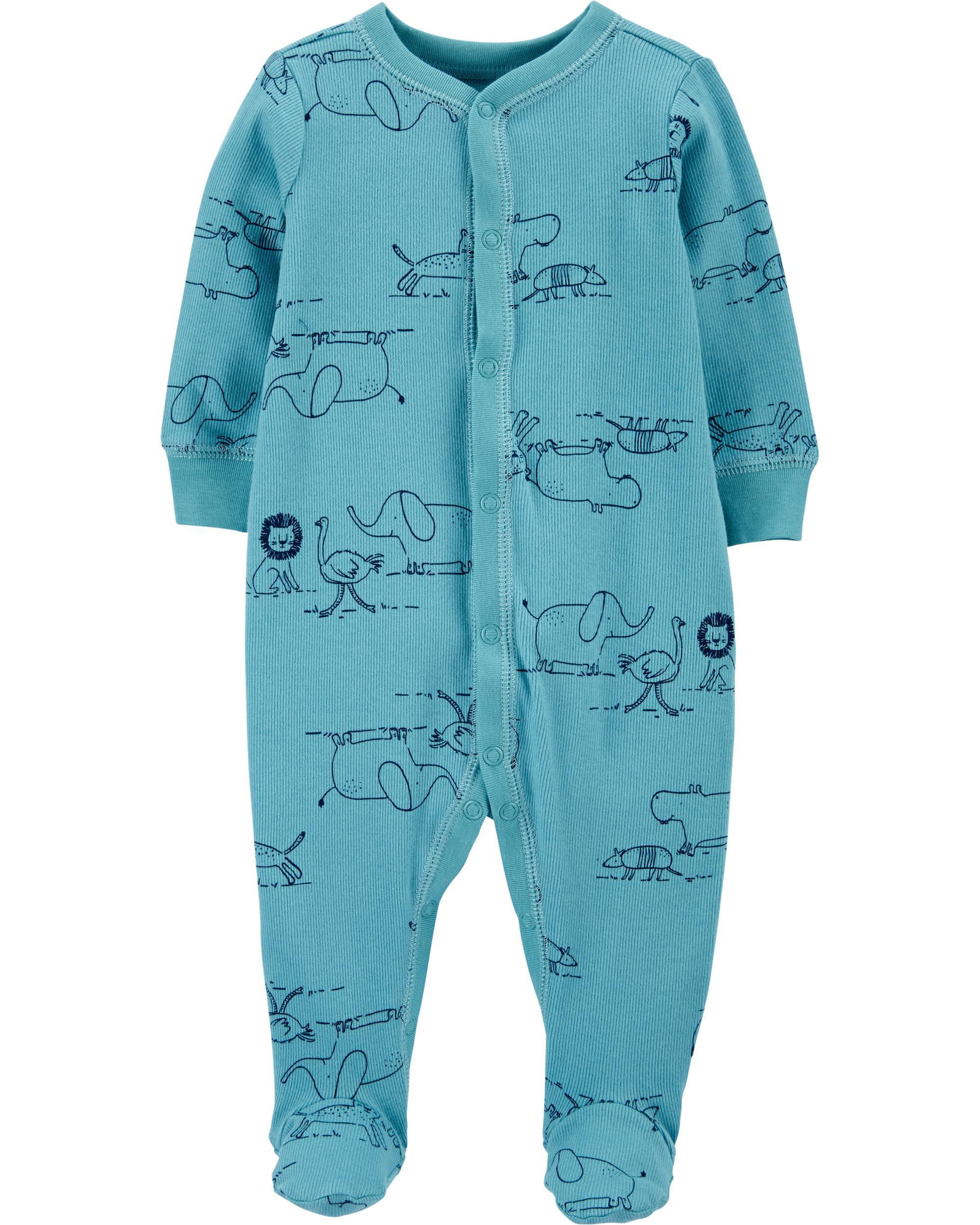 Zoo Animals Snap-Up Cotton Sleep & Play