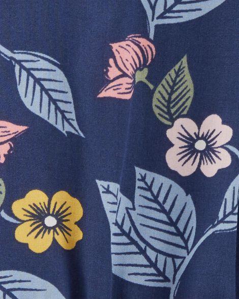 Floral Split Shoulder Poplin Bodysuit