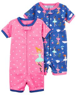 b6590605773 2-Pack Zip-Up Snug Fit Cotton Romper PJs