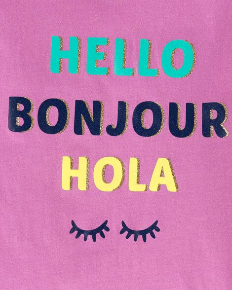 Hello, Bonjour, Hola Peplum Top