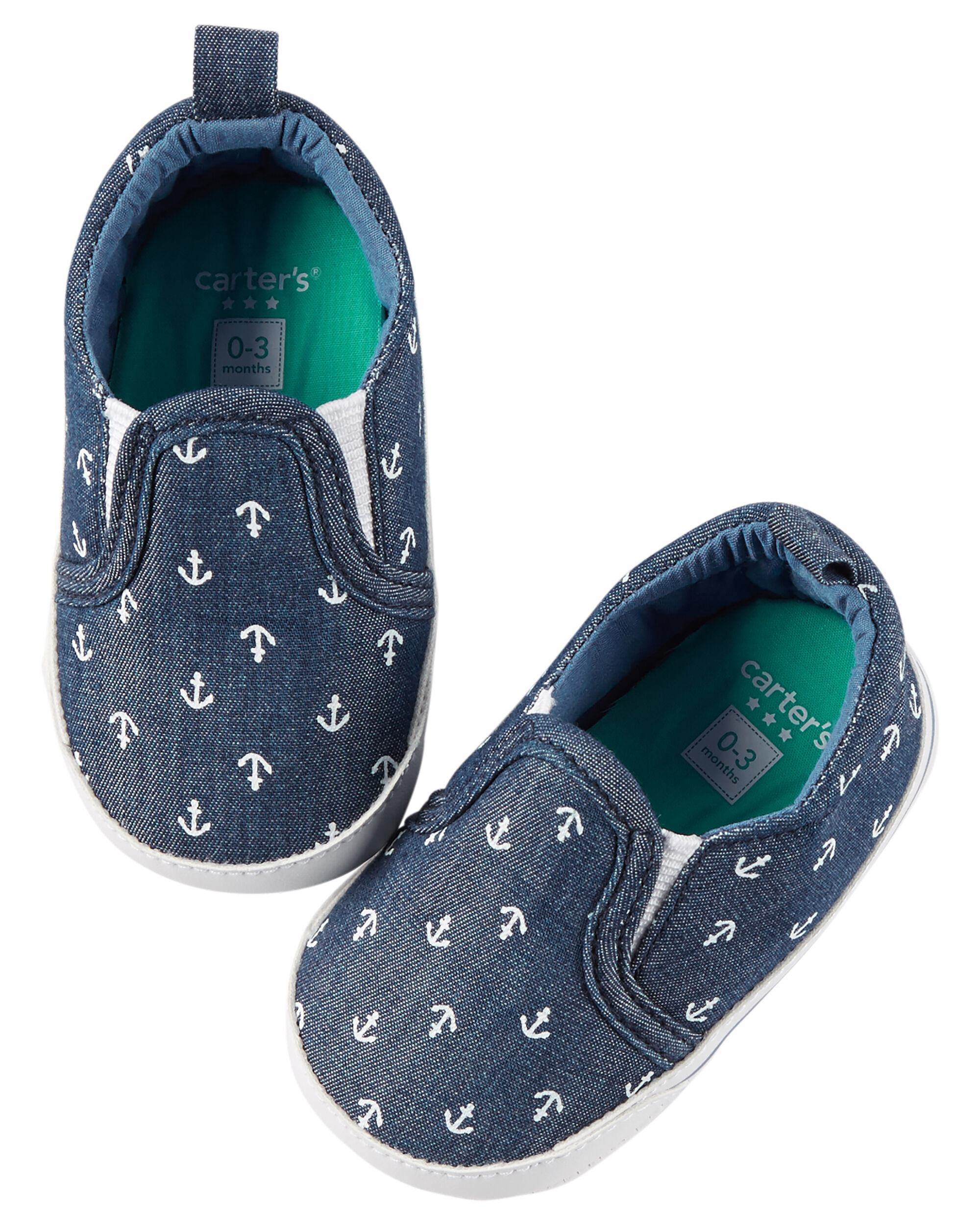 Carter s Anchor Print Slip Crib Shoes