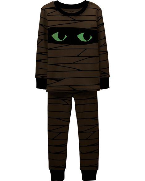 2-Piece Halloween Mummy Glow-In-The-Dark Snug Fit Cotton PJs