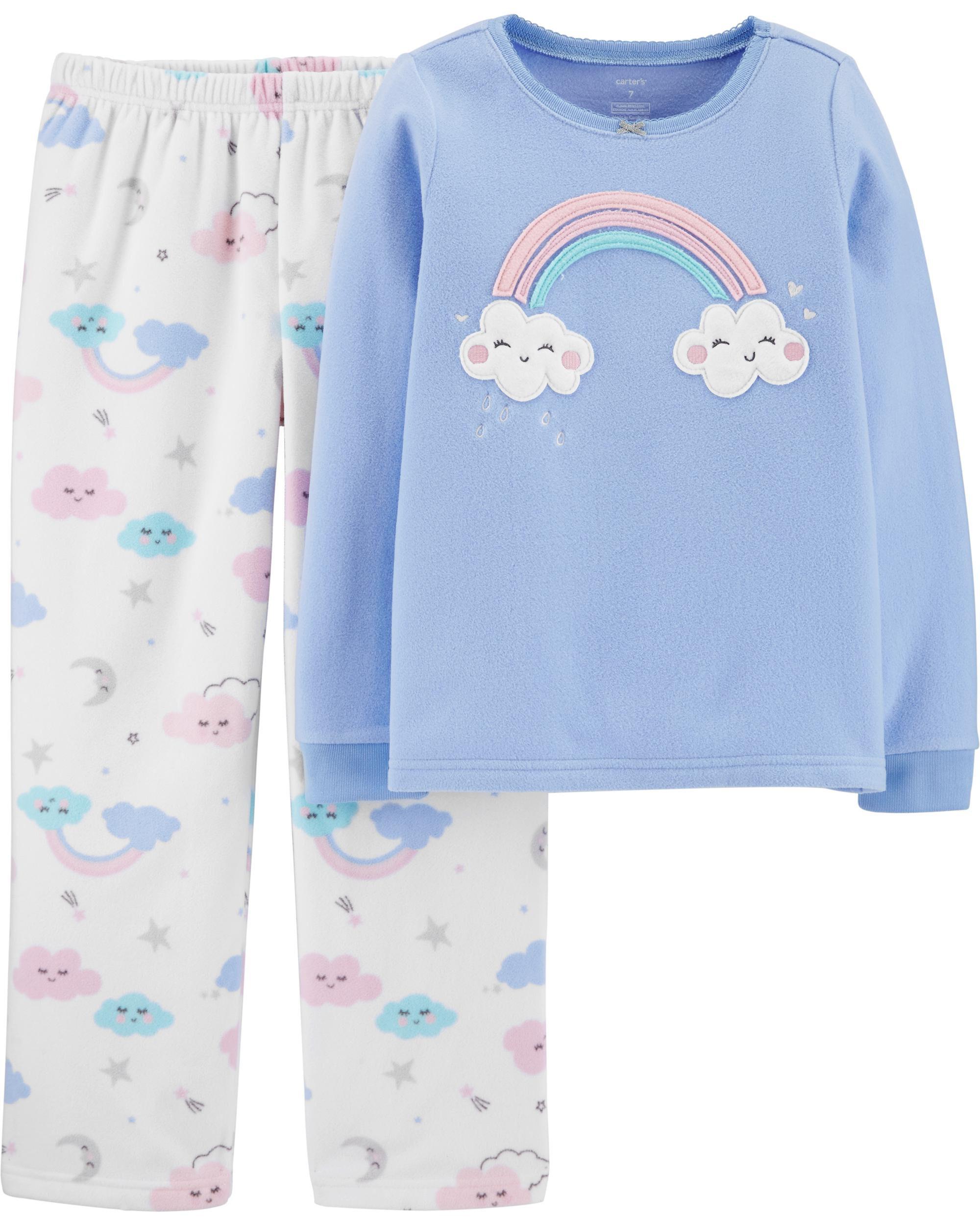 Carter/'s 4 Piece Rainbow Cloud Moon Cotton Pajamas Set Toddler Girls Size 2T 5T