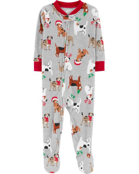 a519c7ee7806 1-Piece Christmas Dog Fleece PJs