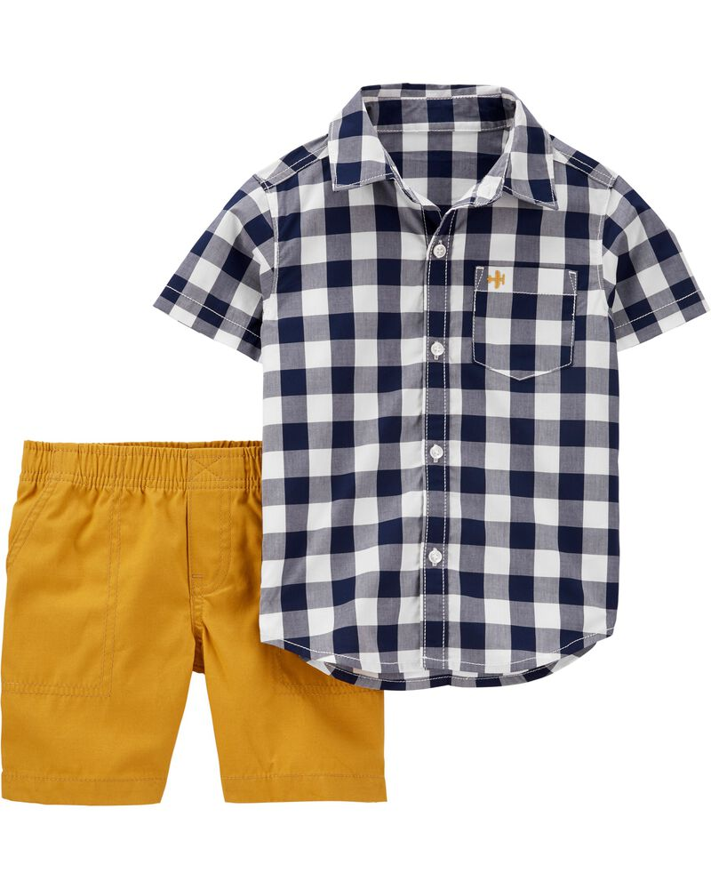 carters 2-Piece Gingham Button-Front Top & Canvas Short Set