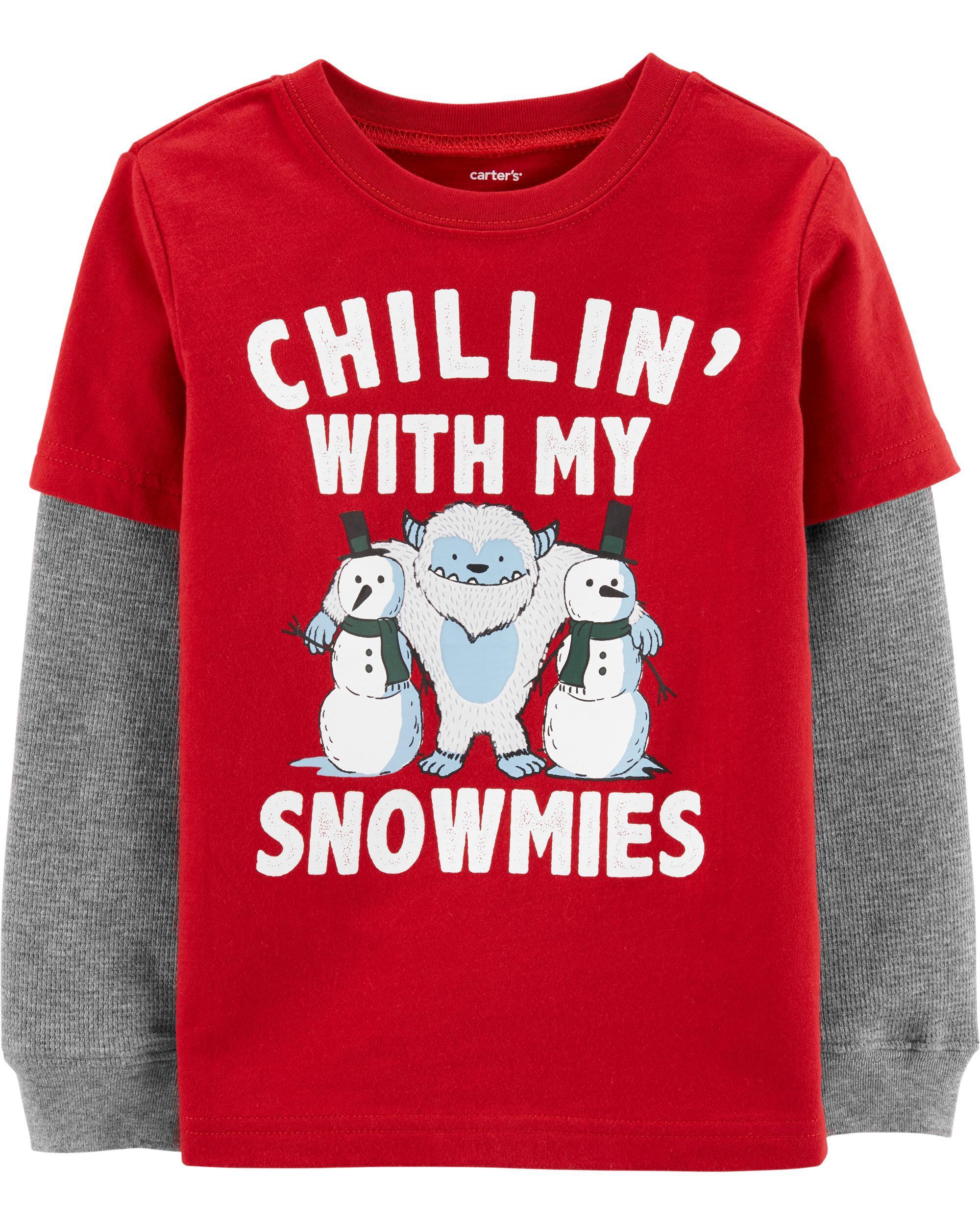 *CLEARANCE* Snowman Homies Layered-Look Tee