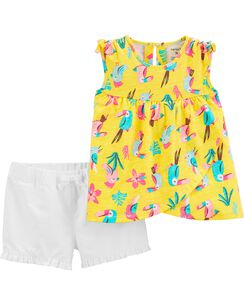 256b24039ddb 2-Piece Tropical Toucan Tank & Twill Short Set