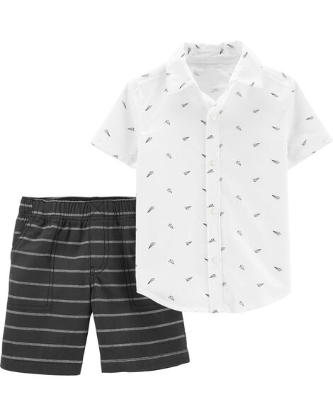 2-Piece Paper Airplane Button-Front Top & Striped Short Set