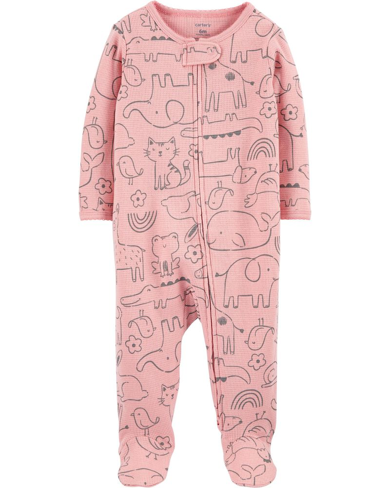 Carters Animal Print Zip-Up Thermal Sleep /& Play