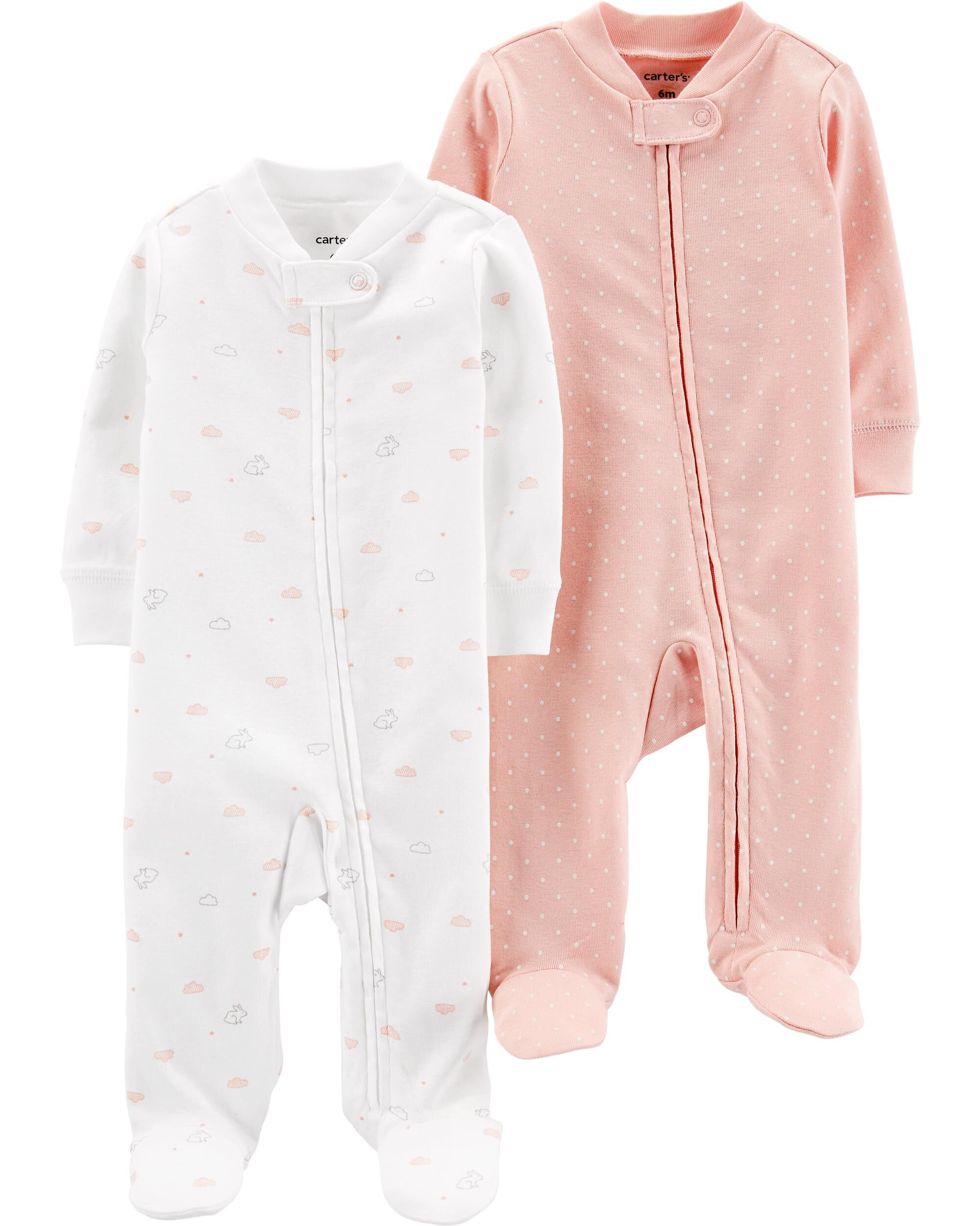 Carters Baby-Girls 2-Pack Cotton Sleep and Play Romper