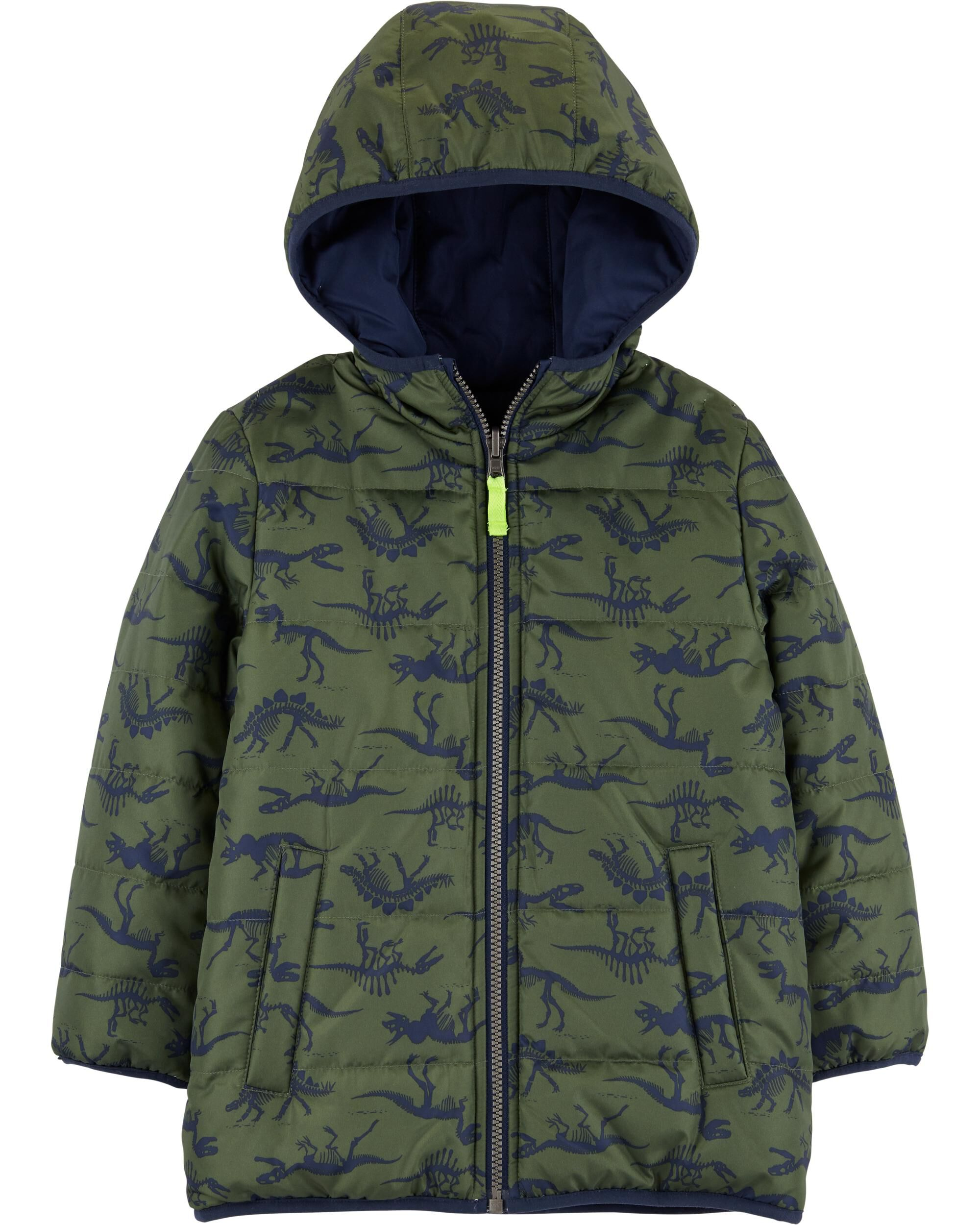 3T Carters Little Boys Green /& Blue Bubble Outerwear Coat