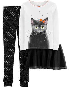 fed7b0880 3-Piece Halloween Tutu Cat Snug Fit Cotton PJs