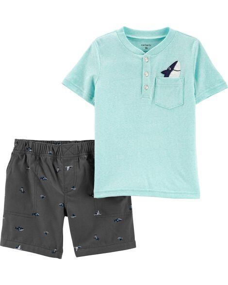 a3991211fb1f 2-Piece Snow Yarn Henley   Shark Short Set