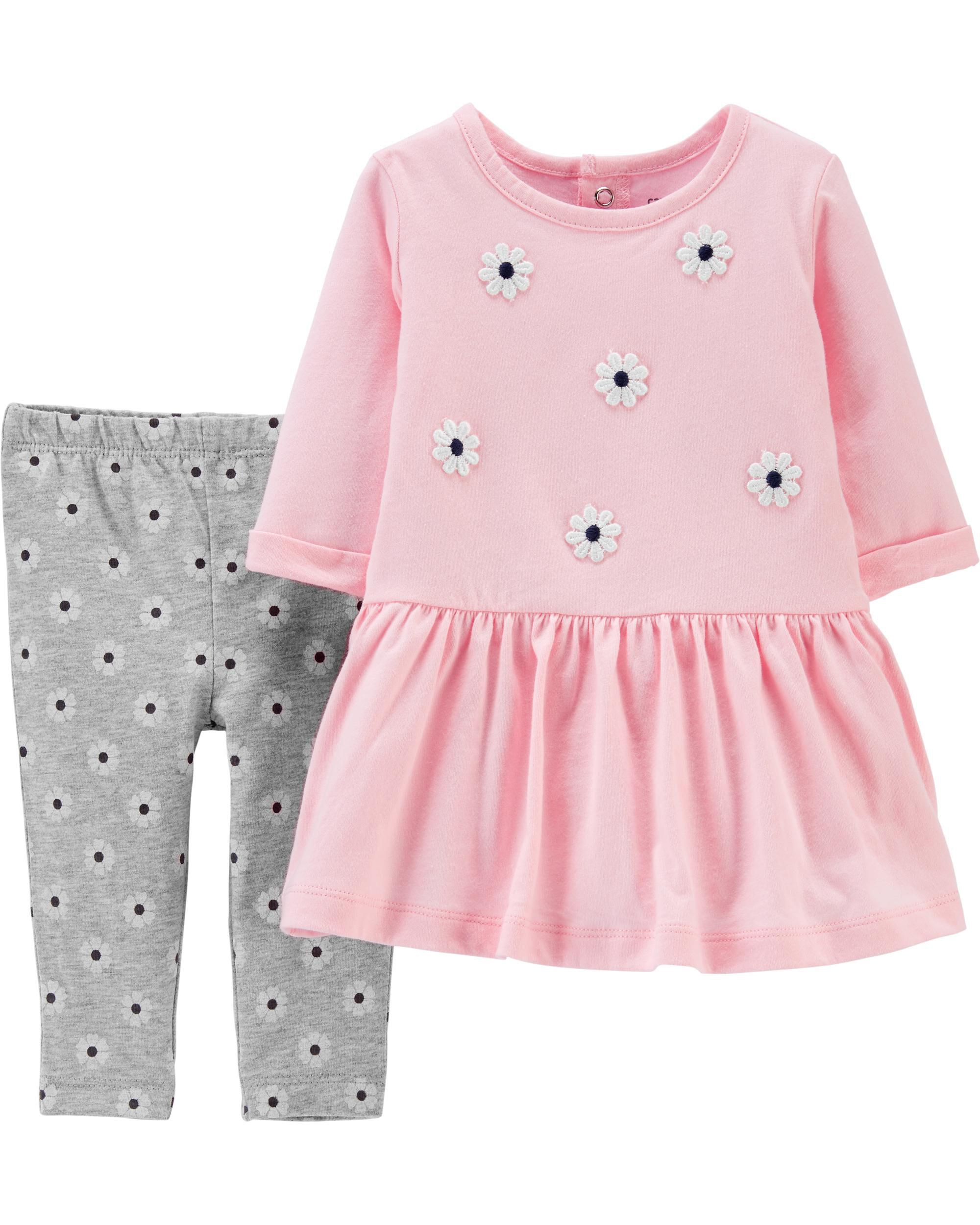 2-Piece Floral Jersey Dress & Legging Set