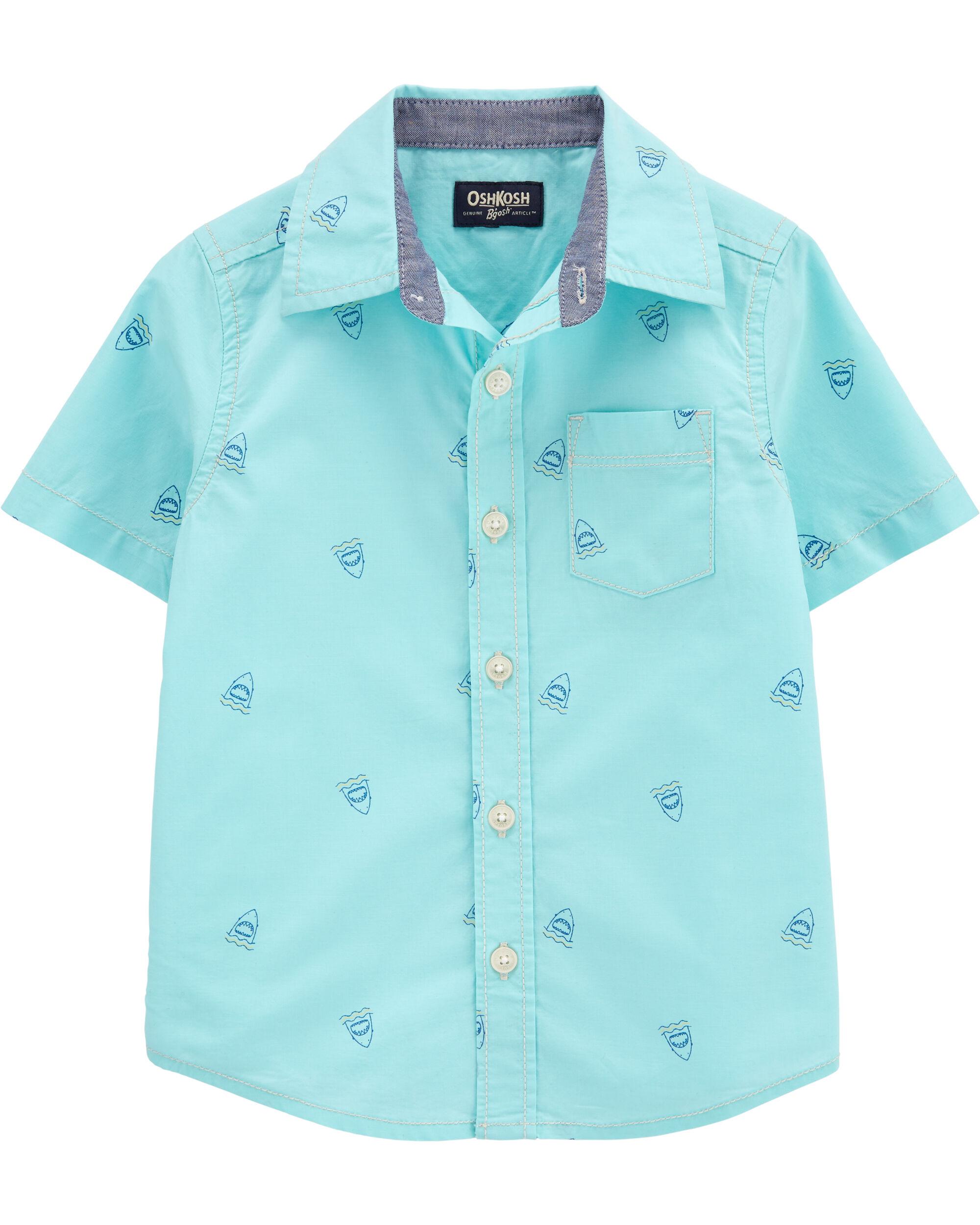 *CLEARANCE* Shark Short Sleeve Button-Front Shirt