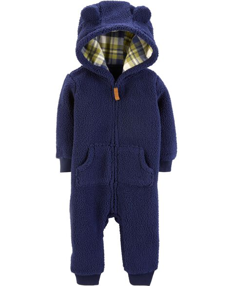 91f8b203627c Zip-Up Hooded Sherpa Jumpsuit