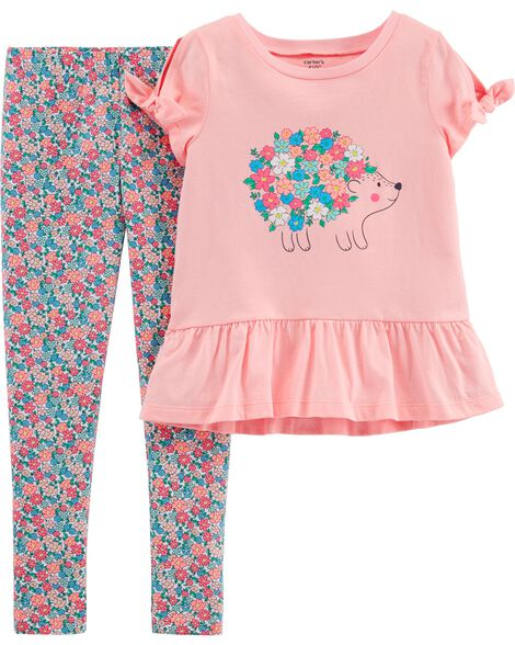 2-Piece Hedgehog Top & Floral Legging Set