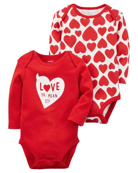 1e483aa29 2-Pack Valentine's Day Bodysuits | Carters.com