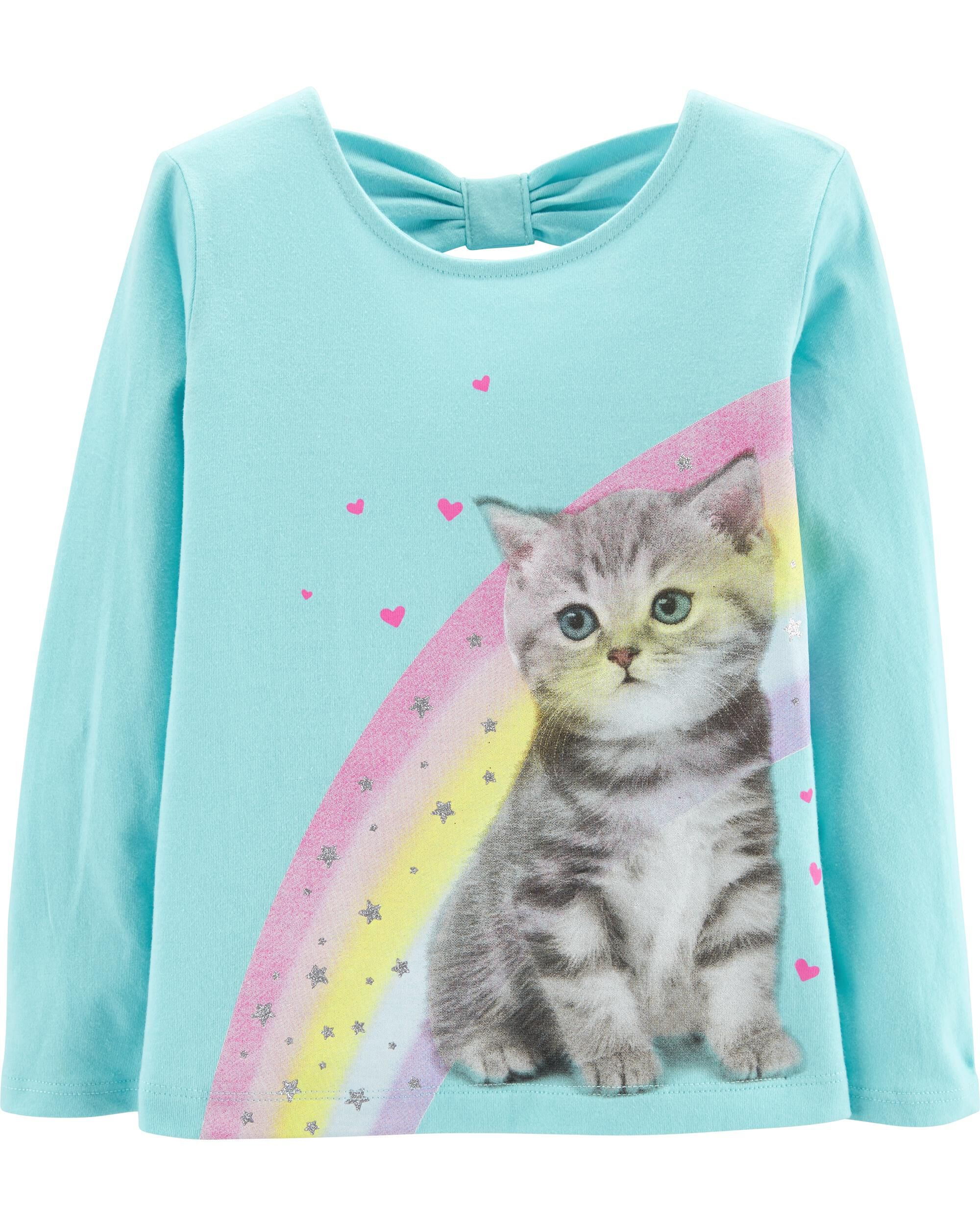 0d7b5cf5 Rainbow Cat Bow Tee | Carters.com